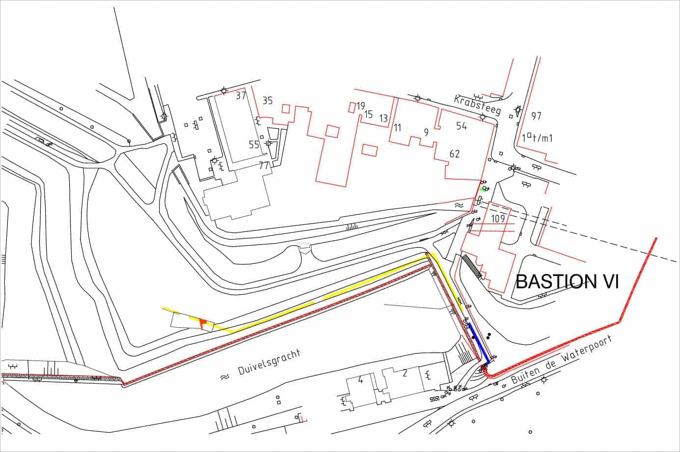 Bastions V en VI met de geplande damwand (geel) en de proefsleuf (oranje vlagje)