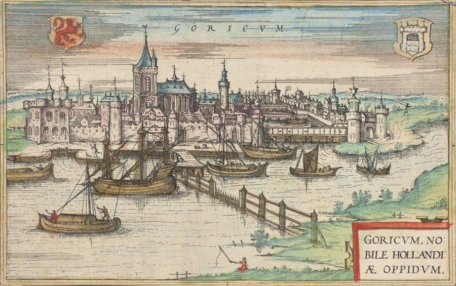 Gorinchem vanuit het zuiden, G. Braun & F. Hogenberg (ca 1580)