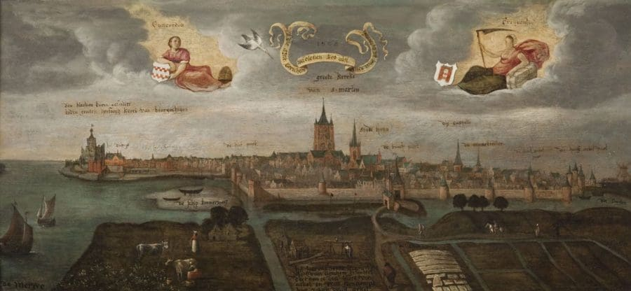 Gorinchem vanuit het oosten, anoniem, 1568, Gorcums Museum, inv. nr. 2347