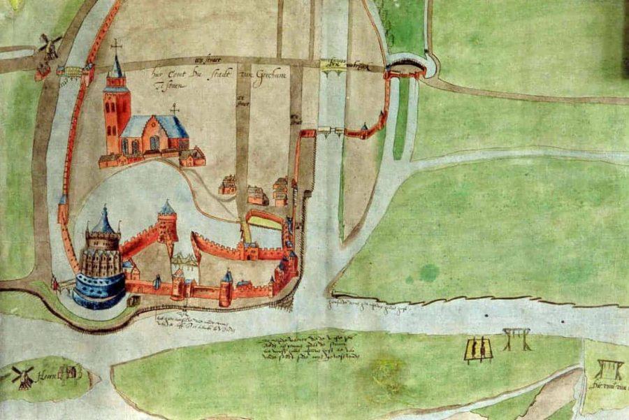 Detailstudie voor een stadsplattegrond, anoniem (1524−1578), collectie Regionaal Archief Gorinchem