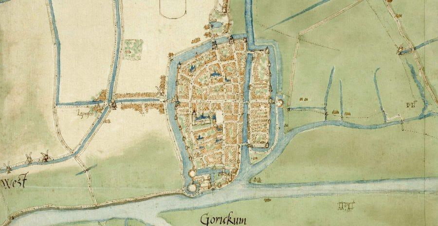 Detail stadsplattegrond Gorinchem, Jacob van Deventer (1558)