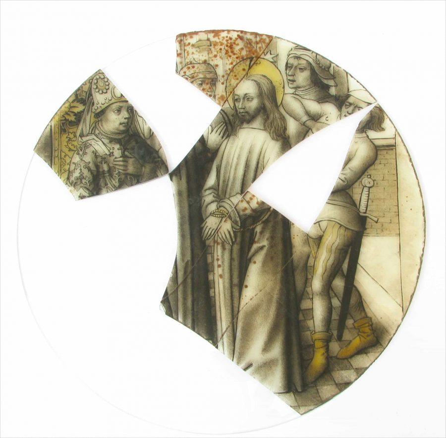 Jezus wordt voorgeleid aan de hogepriester, Mattheüs 26:27, fragment roundel 1550-1600.