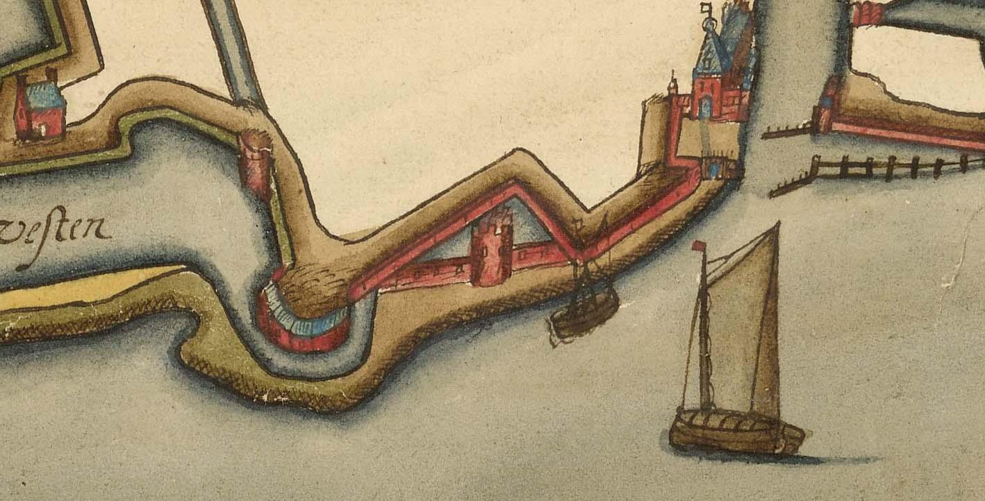 Detail kaart door Gorsen ca. 1600 waarop resten Blauwe Toren en de oude omwalling nog aanwezig zijn