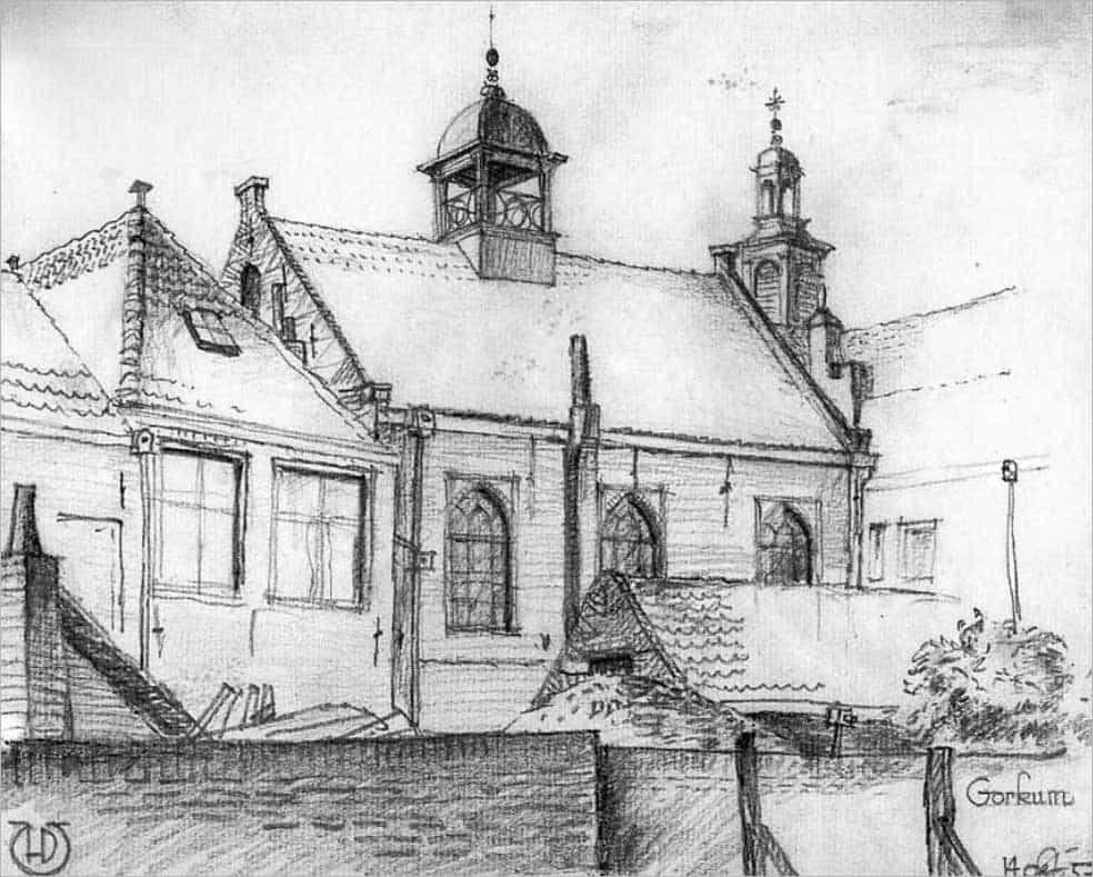 Achterzijde synagoge, H.M. den Uyl 1957