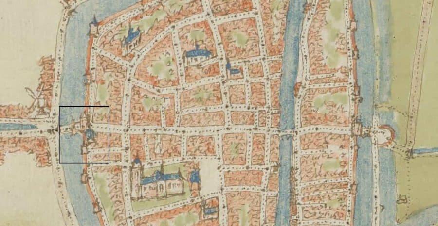 Detail stadsplattegrond door Jacob van Deventer (1558) Hingman Collectie