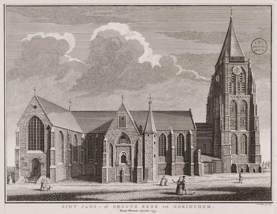 Grote Kerk Gorinchem 1755, Jan Caspar Philips, collectie Universiteitsbibliotheek Leiden