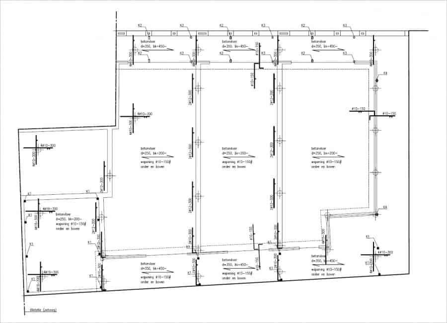 Uitsnede van het palenplan, tekening Loosbroek Architecten BV