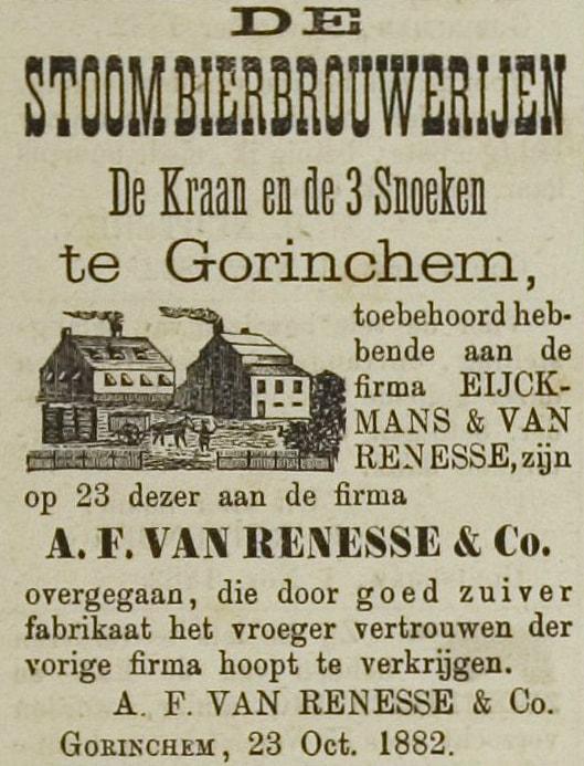 Overname stoombierbrouwerijen De Kraan en de Drie Snoeken van de firma Eijkmans & Van Renesse door A.F. van Renesse op 23 okotber 1882