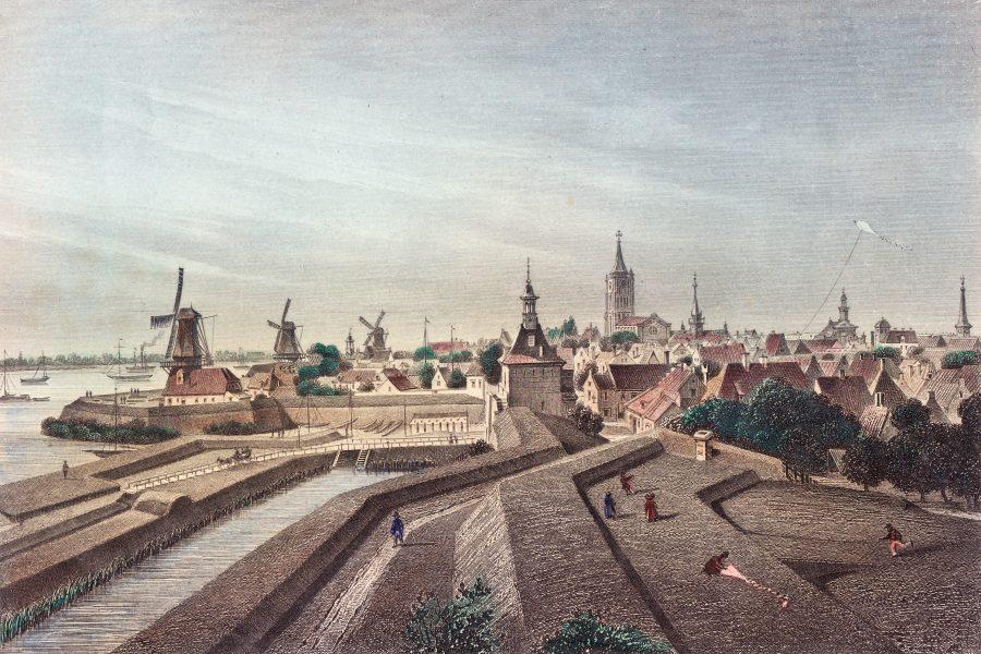 Vestingwerk bij de Dalempoort met de bedekte (beschutte) weg tussen de aarden wallen, G.M. Kurz naar Christian Schüler (1855)